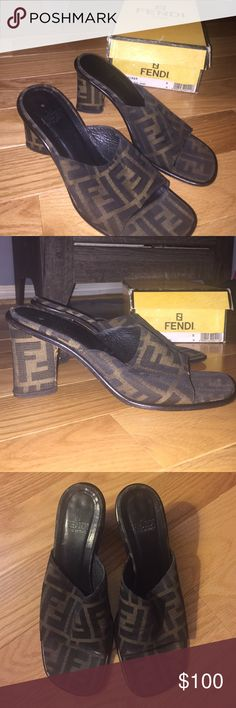 Vintage Fendi Sandals! AUTHENTIC - Comes with original box. Size 8 - Would best fit a US size 7/7.5 in my opinion - Shows signs of wear but lots of life left! Please let me know if you have any questions! Shop away! :) FENDI Shoes