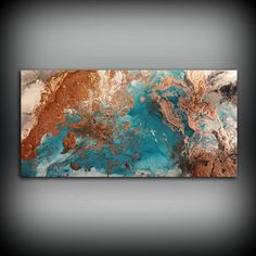 "Copper Coastal Painting 24"" x 48"", Acrylic Painting on Canvas, Abstract Painting, Contemporary Art, Large Wall Art, By L Dawning Scott"