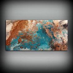 Kupfer Küsten Malerei 24 x 48 Acrylmalerei auf von LDawningScott