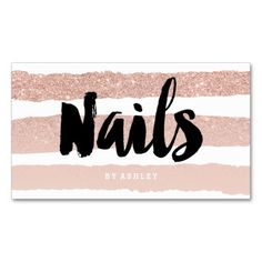 Nails artist modern typography rose gold stripes standard business card