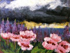 Poppies and Lupins (1946) by Emil Nolde (1867-1965), German-Danish painter. He was one of the first Expressionists, a member of Die Brücke, and is considered to be one of the great oil painting and watercolor painters of the 20th century. He is known for his vigorous brushwork and expressive choice of colors. Golden yellows and deep reds appear frequently in his work. His watercolors include vivid, brooding storm-scapes and brilliant florals (wiki) - (Expressionism in Germany)