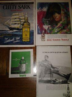 Lot of Vintage 1952 Liquor Print Ads Tanqueray, Grant's, Jose Cuervo, Cutty Sark