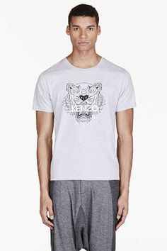 fcb4966f3 Kenzo Heathered Grey Signature Tiger Print T-Shirt on shopstyle.com Kenzo  Clothing,