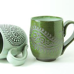 Handmade Paisley Mug in Moss Green, Foxtail Pottery, Seattle, Etsy Shop www.etsy.com/shop/foxtailpottery