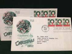 2x 1962 First Day Covers - Christmas - First Christmas Stamps Issued By US Post