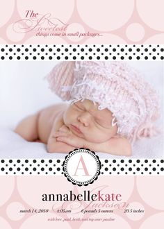 Baby Announcement Photo Card - Sweet Polka