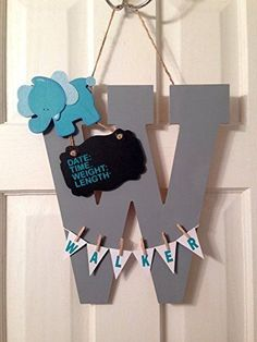 Initial+Hospital+Door+Hanger+announcement+child+room+nursery+personalized+birth+stats,+birthing+suite+Sign