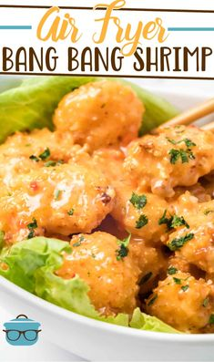 Air Fryer Bang Bang Shrimp is made with buttermilk soaked shrimp, coated in panko bread crumbs and tossed in a creamy bang bang sauce. Air Fryer Oven Recipes, Air Frier Recipes, Air Fryer Dinner Recipes, Shrimp Recipes, Appetizer Recipes, Appetizers, Yummy Recipes, Yummy Food