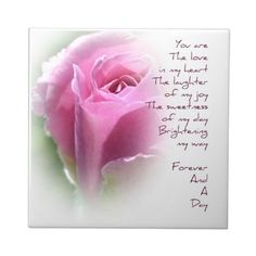Forever and A Day Rose Poem Ceramic Tile