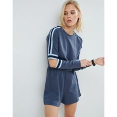 ASOS Contrast Stripe Playsuit with Cut Out Elbows (£22) ❤ liked on Polyvore featuring jumpsuits, rompers, multi, blue rompers, tall romper, cut out romper, cutout romper and prom romper