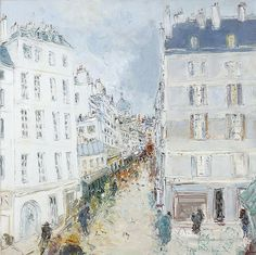 Rue Maitre Albert, Paris - Jean Fusaro (French, Oil on canvas, Paris, Beautiful Buildings, Rue, Cool Artwork, French, Canvas, Cityscapes, Paintings, Artists