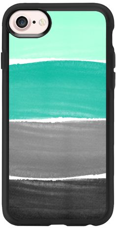 Casetify iPhone 7 Classic Grip Case - Teal and Gray Stripes by Jande Laulu #Casetify