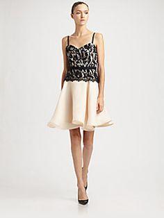 Milly - Leslie Lace-Trim Silk Dress - Preakness Dress