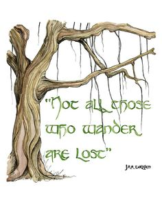 """LARGE Tolkien Quote In Color - Sizes 16x20 and up, """"Wander"""", Lord of the Rings, The Hobbit, JRR Tolkien, Bilbo, Quote Prints, Watercolor"""