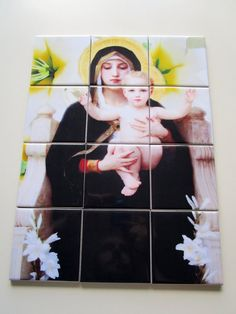 Madonna and Child Wall Art Mosaic 12 tiles cm by TerryTiles2014