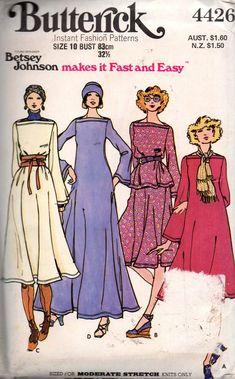 Butterick 4426 Womens BETSEY JOHNSON Stretch Knit Dress Top Skirt & Hat 70s Vintage Sewing Pattern Size 10 UNCUT Factory Folded