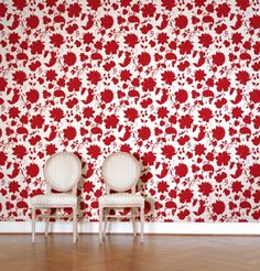 Red Flower Toile Wallpaper Tiles | Wall Decals