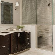 Espresso Floating Vanity, Contemporary, bathroom, Benjamin Moore Silver Fox, Jill Litner Kaplan Interiors