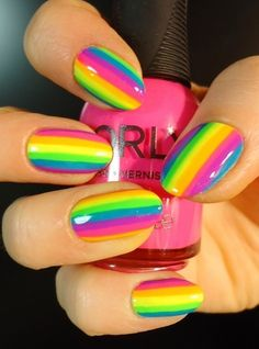 Colorful nails! Such cute bright stripes! Does anyone know how to do this? I would love the tutorial.