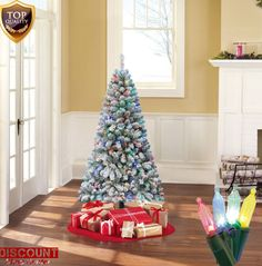 Artificial Christmas Tree Alpine Fir Pre-Lit 6' Color Change Lights Holiday Xmas #HolidayTime