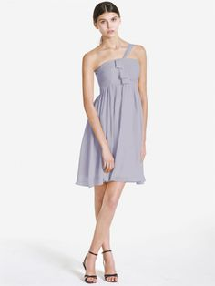Pin to Win a Wedding Gown or 5 Bridesmaid Dresses! Simply pin your favorite dresses on www.forherandforhim.com to join the contest! | One Shoulder Chiffon Dress $149.99