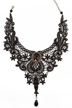 Black Lace Pearl Embellished Bridal Necklace