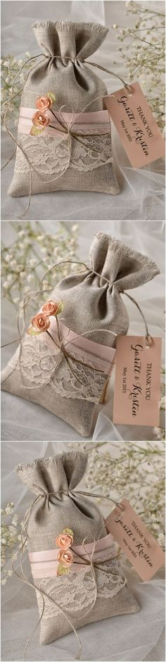 Rustic country burlap and lace wedding favors @4LOVEPolkaDots