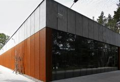 National memorial museum in Palmiry: A modern structure - Read more: http://www.ruukki.com/b2b/references/reference-details/national-memorial-museum-in-palmiry?utm_source=Pinterest&utm_medium=social-media&utm_campaign=References #corten #facade #architecture #palmiry
