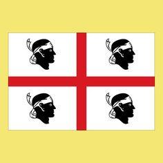 Чиї голови зображені на прапорі Сардинії? маврів! На прапорі зображено чотири мавританських загарбника перед стратою з пов'язками на очах (голови маврів також є популярним символом в іспанських емблемах). Прийнятий в 1999 році закон, трохи видозмінив прапор, пов'язку перемістили з очей на чоло.