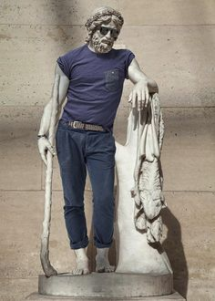 Classic Sculptures Hilariously Dressed in Modern Day Outfits by Alexis Persani and Léo Caillard