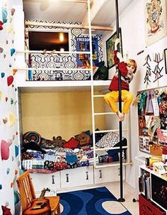 rad kids room - love firepole and climbing wall. How can we do this?