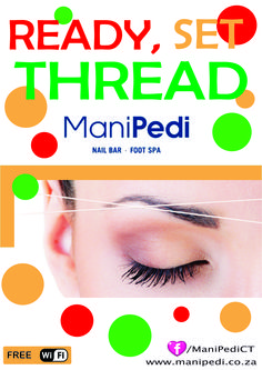 Ready, Set, Thread! Get your Threading done at one of our ManiPedi Stores!  Just some of the benefits for Threading:  * More precise than waxing.  * Much quicker than waxing. * Can be used with clients on   medication (such as Roaccutane). * Less painful than waxing or   plucking. * Creates NO ingrown hairs. * Suitable for ALL skin types.  Find us on Facebook www.Facebook.com/ManiPediCT or visit our website: www.manipedi.co.za