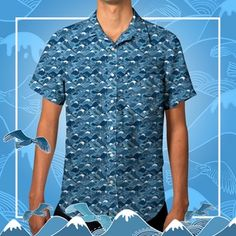 Men's Mountain/Bird Print Short-Sleeve Shirt