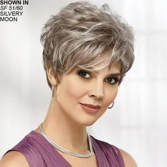 Shop our online store for gray hair wigs for women. These natural hair and synthetic wigs fit mini petite, petite, average and large head sizes. Wig styles include wavy, straight and curly hair in a variety of lengths and shades of grey. Elegant Short Hair, Short Grey Hair, Short Hair Styles For Round Faces, Short Hair Cuts For Women, Fringe Hairstyles, Trending Hairstyles, Short Hairstyles, Short Haircuts, Layered Pixie Cut