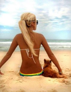 Perfect hair, bod, beach, pup...yes