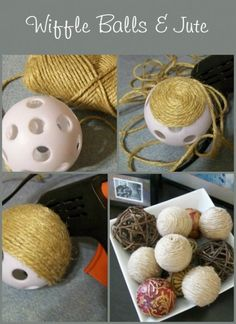 decorative jute balls made out of wiffle balls. MyRepurposedLife.com