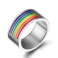 Cheap rainbow jewelry, Buy Quality gay pride directly from China stainless steel Suppliers: Tassina LGBT Stainless Steel Rainbow Striped Rainbow Flag Lesbian Comrade Ring Supplies Gay Pride Rainbow Jewelry Unisex Rainbow Flag, Rainbow Pride, Gay Pride, Pride Flag, Big Rings, Rings For Men, Grands Arcs, Color Plata, Titanium Rings