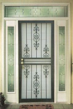 Pretty and functional iron security screen door Wrought Iron Security Doors, Steel Security Doors, Wrought Iron Doors, Security Gates, Security Screen, Door Gate Design, Main Door Design, Interior Railings, Window Grill Design