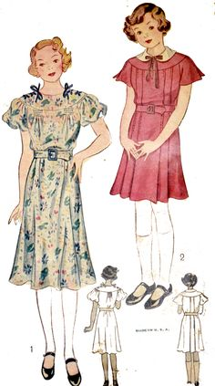 1930s vintage pattern Simplicity 1979 Little girls dresses