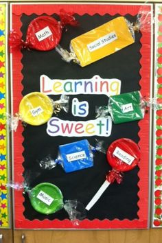 Cute and SWEET back-to-school bulletin board #bulletinboard #sweet #school