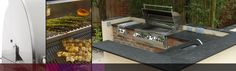 gas/charcoal combi-cooker with brick and slate worktops