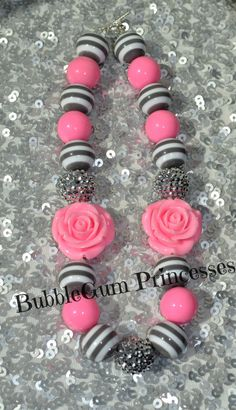 Chunky BubbleGum bead necklace PINK Gray toddler baby Girl Jewelry PINK Roses Sparkle on Etsy, $18.00