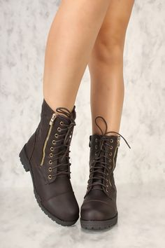 fd280597 Sexy Brown Quilted Front Lace Up Round Toe Combat Booties Faux Leather