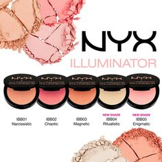 NYX Illuminator. Perfect for spring <3 Ritualistic could easily double as a brow bone highlight. All of the other shades could easily double as a blush. It makes your face look young and glowy. (=^_^=)