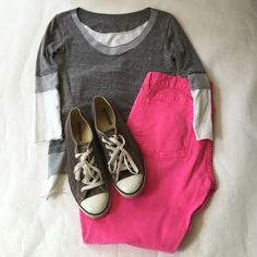 """Necessitees ¾ Sleeve """"Layered"""" Tee Boutique brand, Necessitees, ¾ Sleeve layered looking tee in gray and white. Made in the USA. 94% combed cotton, 6% spandex. The last picture is the top turned inside out. Excellent condition. Necessitees Tops"""