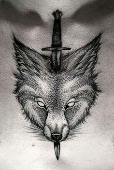 Fox & sword chest tattoo
