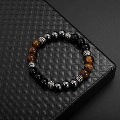 Tiger Eye and Hematite Black Obsidian Stone Bracelet - Obsidian Shop Gemstone Bracelets, Bracelet Set, Bracelets For Men, Fashion Bracelets, Jewelry Bracelets, Fashion Jewelry, Women Jewelry, Men's Accessories, Estilo Fashion