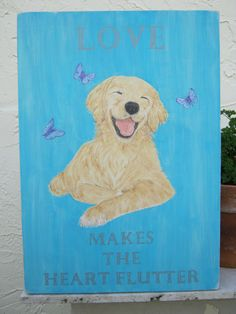 Beach Sign / Golden Retriever Dog Wood Beach Sign by Golden Retriever Art, Retriever Dog, Golden Retrievers, Heart Flutter, Different Dogs, Beach Signs, Dog Paintings, Hand Painted Signs, Print Pictures