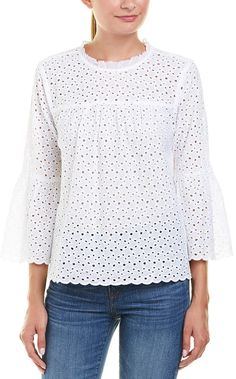 Velvet by Graham & Spencer Eyelet Top Lace Blouses, Lace Tops, Dress Clothes For Women, Casual Dresses For Women, Blouse Styles, Blouse Designs, Homographs, Eyelet Top, Graham Spencer