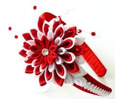 Diadema de tela Flor Kanzashi. Rojo y blanco. por JuLVa en Etsy